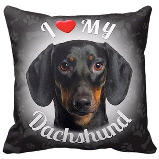 I Love My Dachshund Black Throw Pillow