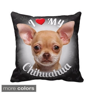 I Love My Chihuahua Fawn Throw Pillow