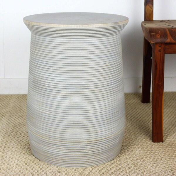 Groovy Agate Grey Oil Mango Wood Round Table Pot (Thailand)