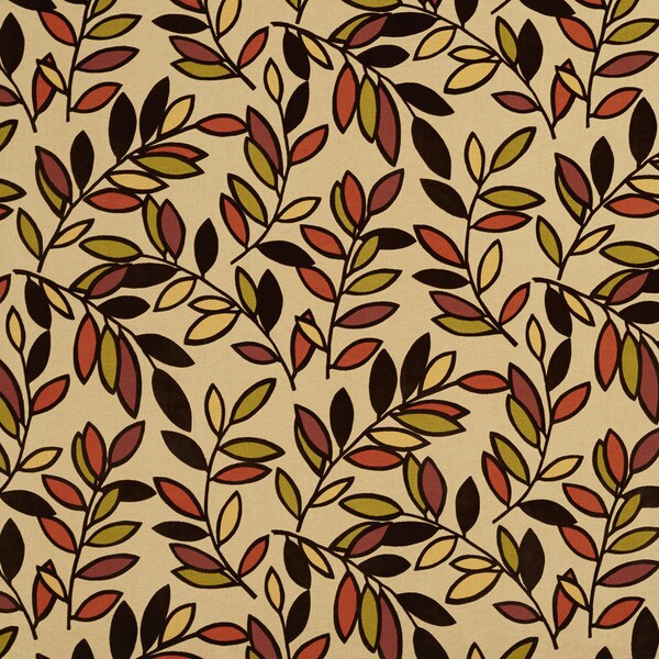 U0320B Black/ Orange/ Yellow and Green Leaves Layered Microfiber Velvet on Cotton Upholstery Fabric by the Yard