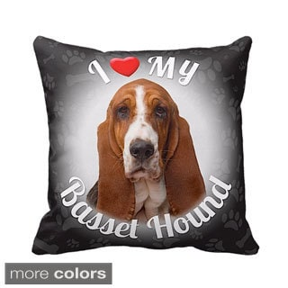 I Love My Basset Hound Throw Pillow