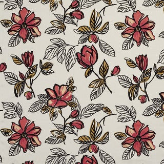 U0350B Red Large Flowers Layered Velvet on Cotton Upholstery Fabric by the Yard