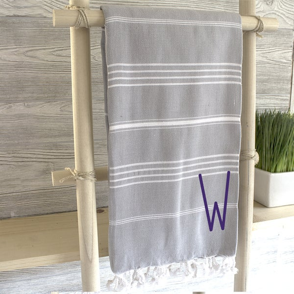Personalized Grey Turkish Towel