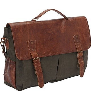 SHARO Large Canvas and Leather Laptop Computer Brief and Messenger Bag