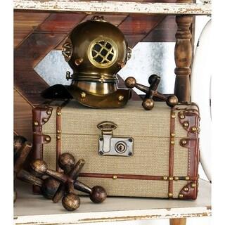 Wood/ Burlap Old Look Burlap Travel Steamer Trunk Set