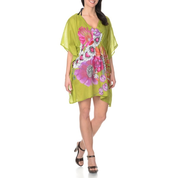 La Cera Women's Center Placed Floral Print Kimono Swim Cover-up