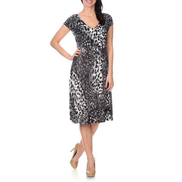 La Cera Women's Pebble Printed Cross-over Front Dress