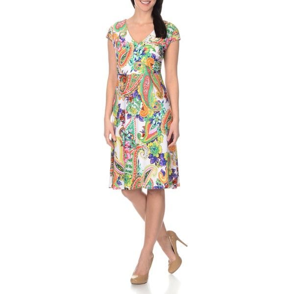 La Cera Women's Paisley Floral Printed Cross-over Front Dress