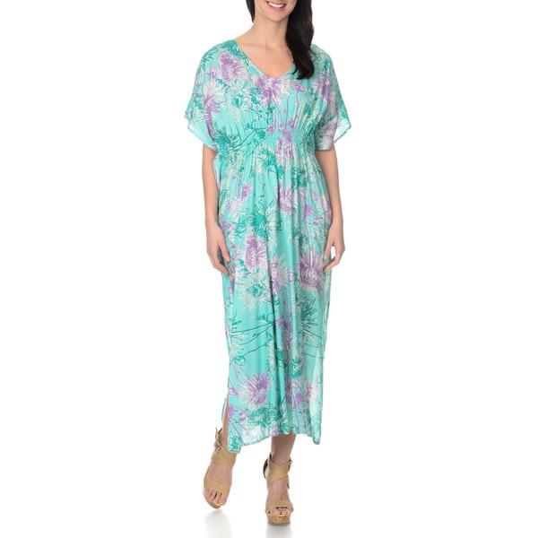 La Cera Women's Floral Print Caftan Maxi Dress