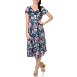 La Cera Women's Navy Floral Printed Button Down Dress