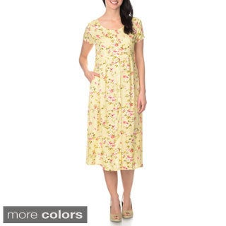 La Cera Women's Floral Printed Button Down Dress