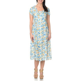 La Cera Women's White/Blue Floral Printed Button Down Dress