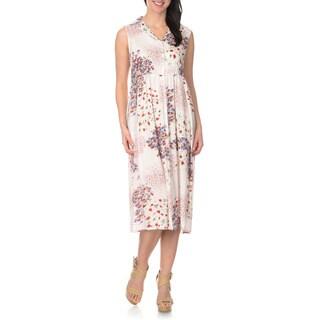 La Cera Women's Ivory Floral Printed Button Down Dress