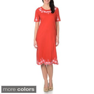 La Cera Women's Embroidery Scalloped Trim Dress