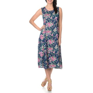 La Cera Women's Floral Printed A-line Dress