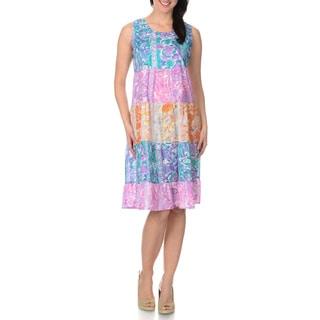 La Cera Women's Watercolor Prairie Style Dress