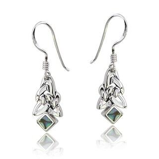 Glitzy Rocks Sterling Silver Abalone Celtic Triangle Knot Dangle Earrings