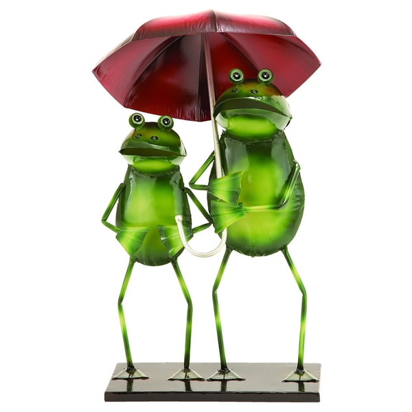 Metal Outdoor Decor Rainy Day Garden Frogs