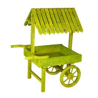 Antique Green Wooden Vendor Cart Planter