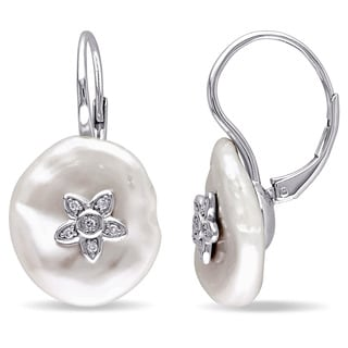 Miadora Sterling Silver Keshi White Pearl and Diamond Accent Flower Earrings (16-16.5mm)