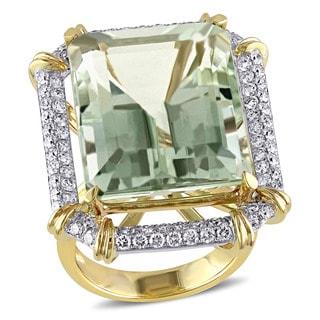 Miadora 14k Two-tone Gold Green Amethyst 1 1/6ct TDW Diamond Ring (G-H, SI1-SI2)