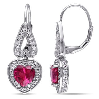 Miadora Sterling Silver Created White Sapphire and Created Ruby Heart Dangle Earrings