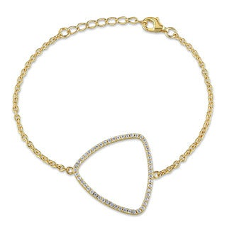 Miadora Yellow Plated Sterling Silver Cubic Zirconia Chain Bracelet