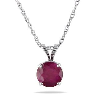 Miadora 10k White Gold Ruby Solitaire Necklace