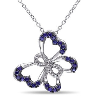 Miadora Sterling Silver Created Blue Sapphire Diamond Accent Butterfly Infinity Necklace