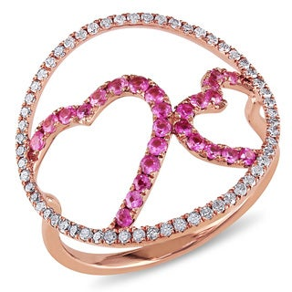 Miadora 14k Rose Gold Pink Sapphire 1/3ct TDW Diamond Circle Heart Ring (H-I, I1-I2)