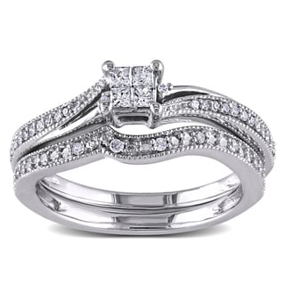 Miadora 10k White Gold 1/4ct TDW Diamond Princess-cut Bridal Ring Set (G-H, I1-I2)