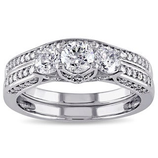 Miadora 14k White Gold 1 1/10ct TDW Diamond 3-stone Bridal Ring Set (G-H, I2-I3)