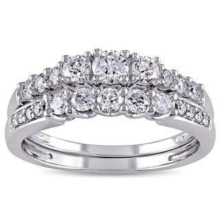 Miadora 14k White Gold 4/5ct TDW Diamond 3-stone Bridal Ring Set (G-H, I1-I2)