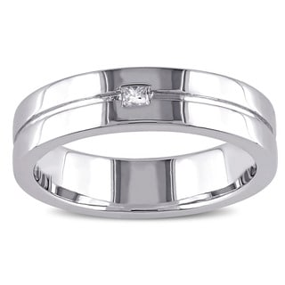 Miadora Sterling Silver Diamond Accent Unisex Wedding Band