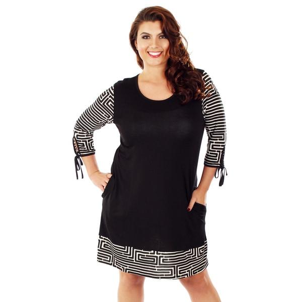 Firmiana Women's Plus-size 3/4 Print Sleeves Black/ White Dress