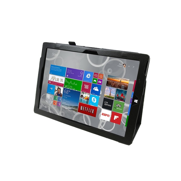 Black Faux Leather Folio Case for Microsoft Surface Pro 3