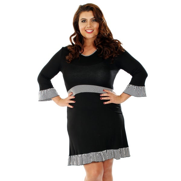 Firmiana Women's Plus Size Black/ White Stripe Detail Dress