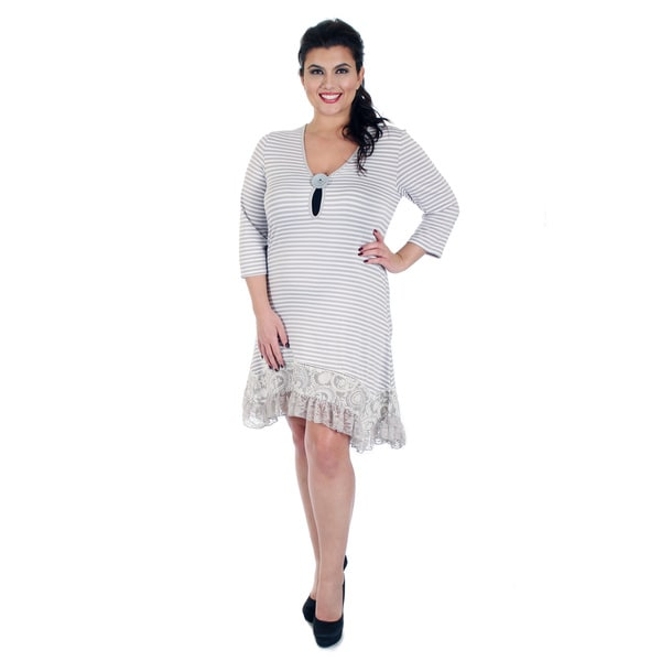 Firmiana Women's Plus Size 3/4 Sleeve Grey/ White Stripe Lace Button Dress