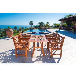 Malibu Eco-friendly 5-piece Wood Outdoor Dining Set with X-Back Armchairs