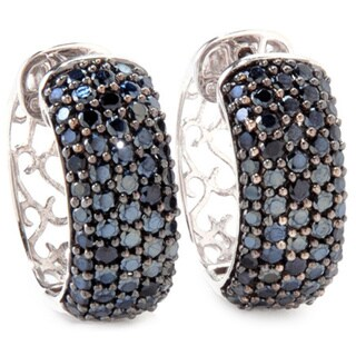 Sterling Silver 4.33ctw Pave-set Spinel Huggie Hoop Earrings