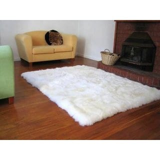 Faux Fur Sheepskin Shag Area Rug White (3'5 x 5'5)