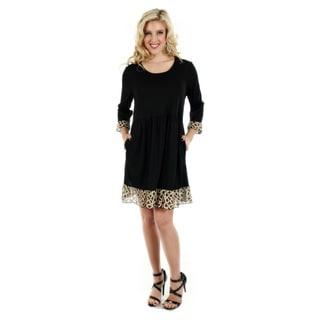 Firmiana Women's Black and Beige Ruffled-hem Dress