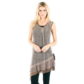 Women's Two-tone Brown Lace Sleeveless Top