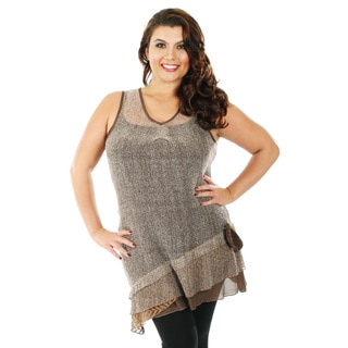 Firmiana Women's Plus Size Two Tone Brown Lace Sleeveless Top