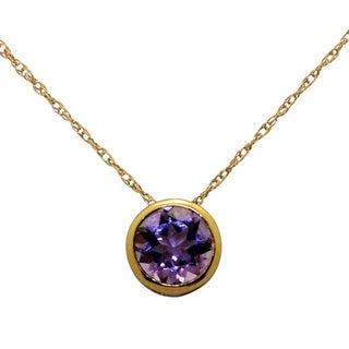 14k Yellow Gold 6mm Round-cut Amethyst Necklace