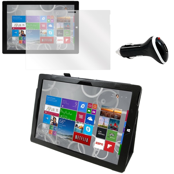 Black Faux Leather Case/ Screen Protector/ Car Charger Bundle for Microsoft Surface Pro 3