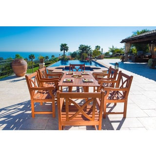 Malibu Eco-friendly 7-piece Wood Outdoor Dining Set with X-Back Armchairs
