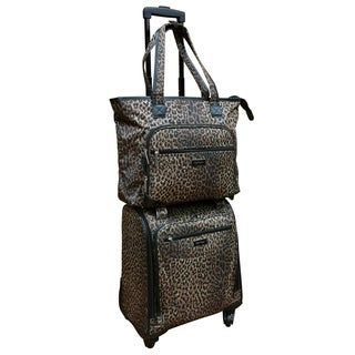 Chocolate New York Leopard 2-piece Carry On Underseat Upright Spinner / Laptop Tote Set