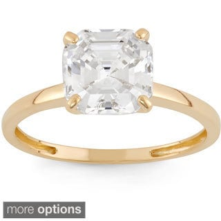 10k Gold 2ct TGW Asscher-cut Cubic Zirconia Ring