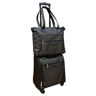Chocolate New York Brown 2-piece Carry On Underseat Upright Spinner / Laptop Tote Set